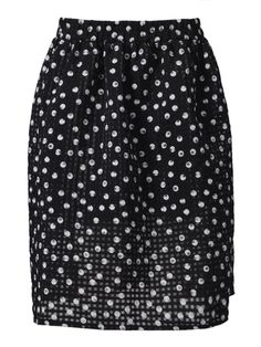 Plaid Polka Dot Print Skirt in Black