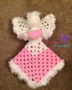 Items similar to Brooke's Angel lovey, memorial keepsake piece, crochet, memory stuffed Amigurumi MADE TO ORDER on Etsy Crochet Security Blanket, Crochet Lovey, Lovey Blanket, Crochet Bebe, Crochet For Kids, Crochet Toys, Free Crochet, Handmade Angels, Crochet Angels