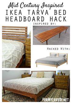 mid century inspired ikea tarva bed headboard hack