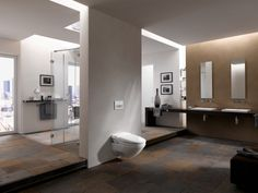 Aquaclean is the new wall-mounted WC by Geberit: elegant, hygienic and sustainable. Aquaclean has a hi-tech design and if need be, it becomes a practical bidet. Bathroom Interior Design, Decor Interior Design, Interior Decorating, Personal Hygiene, Facade, Bathtub, Lounge, Wellness, Mirror