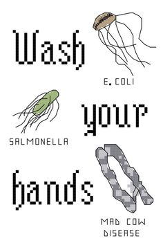 Cross Stitch Patterns -- Wash Your Hands 5x7 and bonus Wash Your Hands patterned for bathroom towel via Etsy