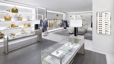 The interior of the new store which carries ready-to-wear and accessories from Michael Kors Collection, as well as watches, jewellery, footwear, fragrances and eyewear. © Michael Kors