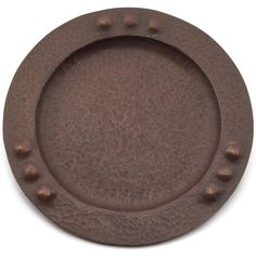 """Roycroft plate, round shape with a repousse dot pattern, hammered copper, original patina, marked, 8""""dia. From the Stephen Gray Collection"""