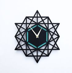 Modern clock geometric wall clock 12 x 13 inches black by decoylab on Etsy I Made in the USA #shoplocal