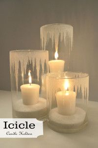 DIY Your Wedding - Candles - Ideas of Candles - Beautiful DIY icicle candle holders. Make with battery operated candles? Glitter Candle Holders, Glitter Candles, Diy Candles, Diy Candle Holders Wedding, Battery Candles, Glitter Mason Jars, Candle Holder Decor, Glass Candle Holders, Noel Christmas