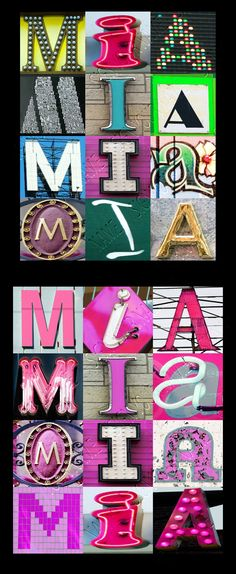 Personalized name posters featuring MIA in photos of sign letters! This custom wall decor is perfect in your dorm room, kid's room, or any room :-)