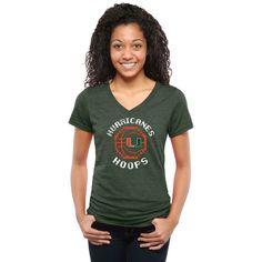 Miami Hurricanes Women's 8-Bit Basketball Tri-Blend V-Neck T-Shirt - Green