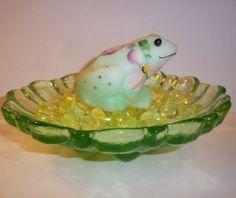 Fenton Glass ~3 PIECE SET~ Frog ~ Key Lime Green Lily Pad Bowl ~ Vaseline Gems!