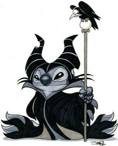 I want to see Stitch dressed up as all of the Disney Villains