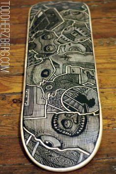 Items similar to Custom Hand Engraved Skateboard on Etsy Skateboard Deck Art, Skateboard Design, Skateboard Furniture, Finger Skateboard, Custom Skateboards, Cool Skateboards, Longboard Design, Longboard Decks, Skateboard Companies