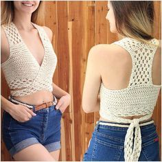 Easy Crochet Top Patron crochet Gioia crochet halter top Beginner top pattern Crochet top pattern Bust sizes 30 to 44 Sizes S-M-L-XL Débardeurs Au Crochet, Bikini Crochet, Pull Crochet, Patron Crochet, Crochet Halter Tops, Crochet Crop Top, Crochet Blouse, Crochet Panda, Beginner Crochet
