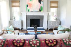 Before and After: A Family Home Receives a Bold Boho Transformation// symmetrical design, suzani, abstract art, inlaid chest