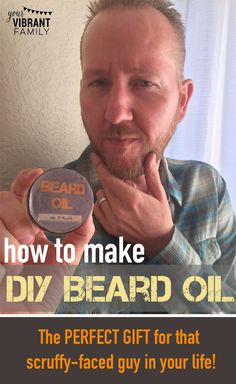 Do you know a guy with a beard? Here's how to make homemade beard oil--for a fraction of the cost of store-bought! This simple recipe uses easy to find ingredients (plus has FREE LABELS!) Goodbye scratchy and scruffy. Hello soft, snuggly (and sexy)! Perfect DIY Father's Day gift, birthday gift or Christmas gift!