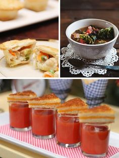 These are interested food ideas. I'm not a huge fan of grilled cheese/tomato soup, but other people might light it! Plus it's cute... I also love the mini chicken pot pies!