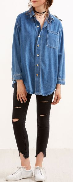 Blue Drop Shoulder Pocket Curved Hem Denim Shirt