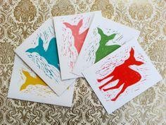 Linocut Deer Mix Greeting Card Set by 30SilentMockingbirds on Etsy, $15.00
