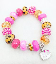 Hello cheetah Kitty European Style Charm Bracelet by Graceandliz, $15.00