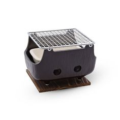 Black Rectangular Charcoal BBQ Konro - Featuring a textured black glazed… Best Charcoal Grill, Charcoal Bbq, Mini Grill, Bbq Grill, Table Top Grill, Barbecue Design, Catering Display, Korean Bbq, Rocket Stoves