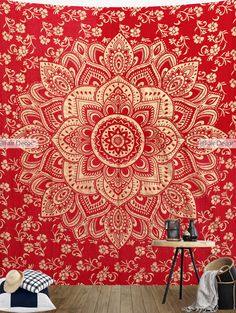 Red Gold Flower Mandala Tapestry Wall hanging