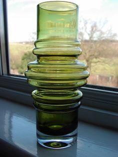 Riihimaki Finland Green Art Glass Hooped Tube Vase By Tamara Aladin 1970's