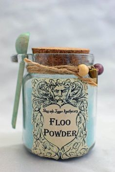 FLOO POWDER Decorative Harry Potter Glass Jar of by GrimSweetness Harry Potter Navidad, Harry Potter Fiesta, Estilo Harry Potter, Harry Potter Weihnachten, Harry Potter Thema, Cumpleaños Harry Potter, Mundo Harry Potter, Harry Potter Nursery, Harry Potter Bathroom Ideas