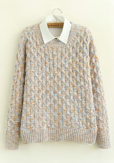Beige Patchwork Print Round Neck Cotton Blend Cardigans