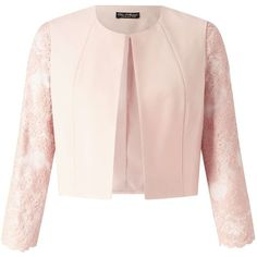 Miss Selfridge Blush Lace Sleeve Jacket (2.830 RUB) ❤ liked on Polyvore featuring outerwear, jackets, blush, miss selfridge, lace jacket, pink lace jacket and pink jacket