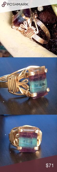 HUGE Beautiful Custom made flourite ring Gorgeous and large natural flourite gemstone custom made in 18k gold filled wire wrapping.  Beautiful setting and very sturdy and detailed.  Size 6 Jewelry