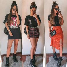 Looks para o rock in rio - Festival looks - {hashtags Edgy Outfits, Mode Outfits, Cute Casual Outfits, Retro Outfits, Grunge Outfits, New Outfits, Spring Outfits, Fashion Outfits, 80s Fashion
