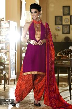 http://www.istyle99.com/Dress-Material/Cotton-Patiala-Suit-1355.html Cotton Patiala Suit @ Rs729.00 TypeCotton Material Patiala Salwar Kameez ForWomen OccasionCasual, Formal Wear, Festive Wear TopCotton BottomCotton (2.5 mtr approx) DuppataChiffon Product DescriptionUnstitched Cotton Patiala Salwar Kameez is simply fabulous because of its color and designs. Nowadays this interesting dress mostly wearing in formal occasions.