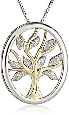 Sterling Silver and 14k Yellow Gold Diamond Tree of Life Pendant Necklace, 18""