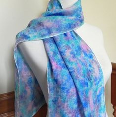 Hand Dyed Silk Satin Scarf Watercolor Pattern by RosyDaysScarves, $45.00