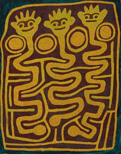 """Jimmy Pike (1939 - 2002), Japinka, synthetic polymer paint on canvas, 167.5 x 131.0 cm. Deutscher & Hackett Important Aboriginal Art auction, March, 2014:  10- 15K. 'Japingka is the main Jila (living water) for my country. That's my father's country and my grandfather's country. Kalpurtu live in the waterhole when they smell strangers coming, they stand. Then an old man must sing out: """"Japingka wawla! We're coming! We want to get water."""""""