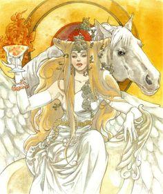 Art of woman with horse & goblet of fire by manga artist Natsuki Sumeragi. Love Illustration, Character Illustration, Drawing Poses, Manga Drawing, Character Art, Character Design, Drawn Art, Fantasy Book Covers, Fantasy Art Women