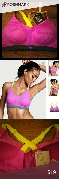 Victoria's Secret- Sports Bra, 36C, NWT, pink! Victoria's Secret Sport- Sports Bra, NWT, size 36C,  Lightweight bra, pink, grey band, yellow/green adjustable straps,  wireless,  soft structure cups,  Sold out online in this size in almost all colors! Victoria's Secret Intimates & Sleepwear Bras