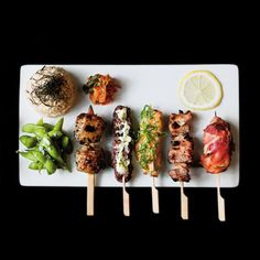 We look forward to welcome you, regardless of whether you wish to eat at one of our restaurants, order food to go, or have food delivered. Izakaya Recipe, Food On Sticks, Man Food, Food Packaging, Food Presentation, Food Design, Food Plating, Food Truck, Indian Food Recipes