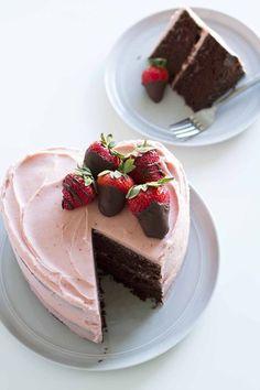 Heart Shaped Chocolate Strawberry Cake