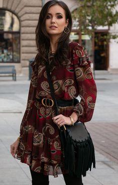 Roco Szyfonowa sukienka wzorzysta 259/D92 Bohemian, Style, Fashion, Swag, Moda, Fashion Styles, Boho, Fasion, Boho Aesthetic