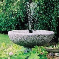 """Solar Bird Bath Fountain, Solar Sunjet 150 $57.95 Suitable for container gardens or in bird bath fountain. Ops best in direct sunlight & has flow rate of 35 gals per hr in op conditions, which will keep water clean w/ 10"""" display. Includes 3 fountain heads, solar panel, pump, & filter. Just set in any bird bath & enjoy sight & sound of flowing water.Solar panel & 10' cord included. 9.25"""" x 3"""" x 4"""" (Birdbath NOT included) Color; Black, Material: High Grade Plastic, Ceramic & Metal."""