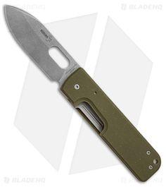 "Boker Plus Lancer Liner Lock Knife OD Green G-10 (3"" Stonewash) 01BO064"