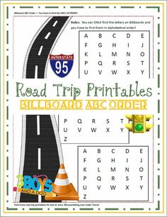 Billboard ABC order printable for road trips from 3 Boys and a Dog-Field Trips?