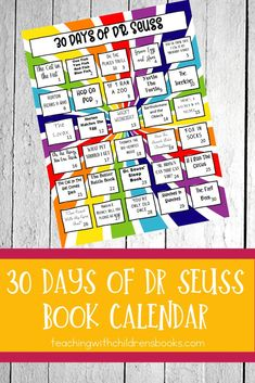 Seuss's birthday is March which also happens to be Read Across America Day. This 30 Days of Dr Seuss books calendar is perfect for that day or any day! Dr Seuss Activities, Infant Activities, Book Activities, Early Learning, Fun Learning, Read Across America Day, Dr Seuss Week, One Fish, Children's Literature
