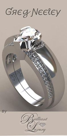 Brilliant Luxury * Greg Neeley Pear Wrap Engagement Set