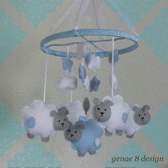 Felt Lamb and Stars Baby Mobile Baby Blue White by genae8design