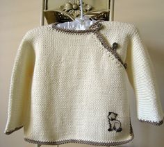 Baby cross over top with contrasting trim - P008 by OGE Knitwear Designs