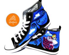Alice Cheshire Cat Shoes Hand Painted High Top Boots