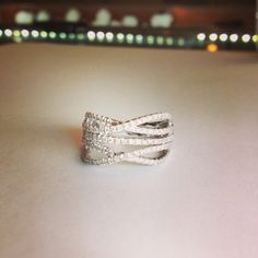 White gold multi strand diamond band ring at Platinum Jewelers in Franklin, Tn.