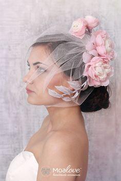 Ginny | silk flower headpiece with veil - set - MoaLove Accessories