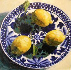 JULIAN HEATH - Lemons in blue and white bowl