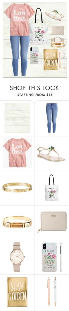 """Study Peace Club"" by tdittamo ❤ liked on Polyvore featuring Magnolia Home, Current/Elliott, J.Crew, Giuseppe Zanotti, Cartier, Tory Burch, Kate Spade, ROSEFIELD and Eccolo"